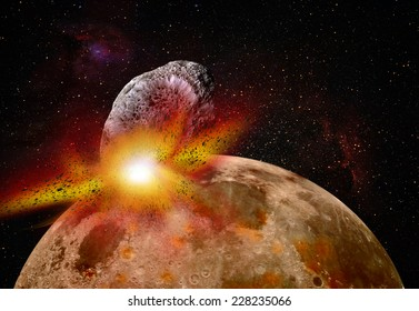 """Attack of the asteroid on the Lunar """"Elements of this image furnished by NASA"""