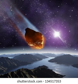 Attack of the asteroid on the planet Earth in the universe. Abstract illustration of a meteor impact.