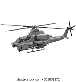 Attack Helicopter Isolated on White Background