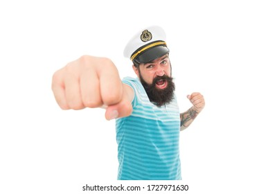 Attack. Punch in face. Sailor spirit. Bearded sailor isolated on white. Navy and marine. Sea adventures concept. Sailor or seaman with long beard and mustache. Work as sailor. Professional mariner.
