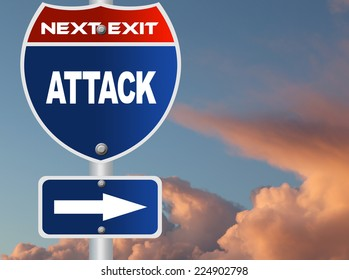 Attack road sign