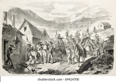 Attack to silver mines in Mexico, by General Miramon's troops. Original, from drawing of Janet-Lange, after sketch of J. H. Lagarde, published on L'Illustration, Journal Universel, Paris, 1860