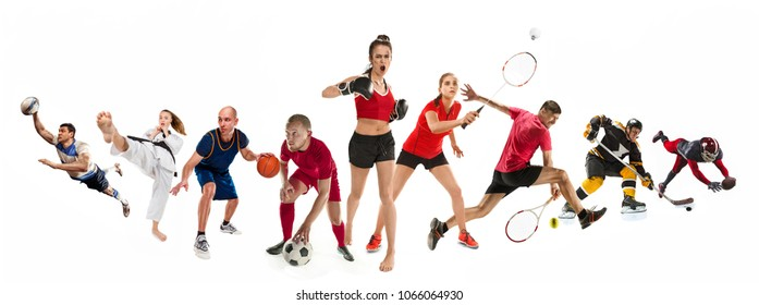 Color Sport Background Football Basketball Hockey Stock: Badminton Images, Stock Photos & Vectors