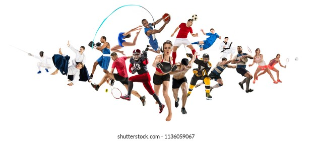Attack. Sport collage about kickboxing, soccer, american football, basketball, ice hockey, badminton, taekwondo, aikido, tennis, rugby players and gymnast isolated on white background with copy space
