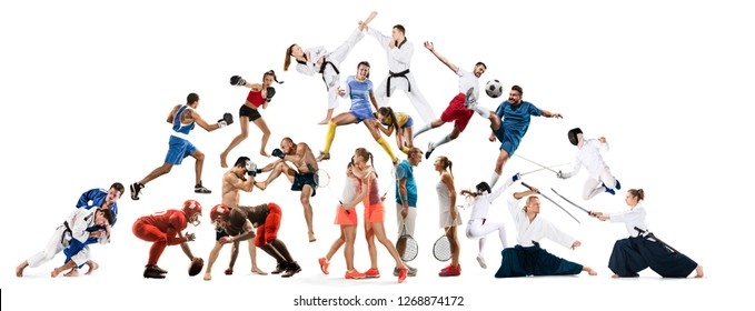 Attack. Sport collage about kickboxing, soccer, american football, aikido, rugby, judo, fencing, badminton and tennis and boxing on white background