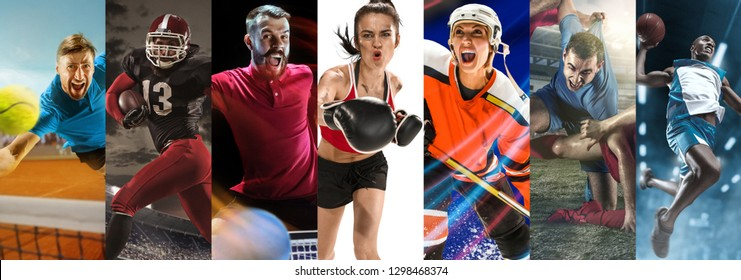 Attack. Sport collage about soccer, american football, table tennis, boxing, ice hockey, tennis and basketball players in motion. Adult athletes in action