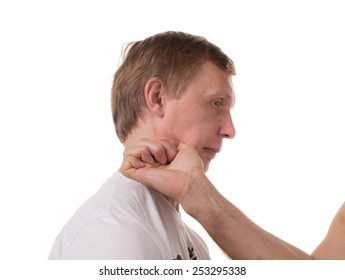 Attack to the throat for defeat. Located on a white background.