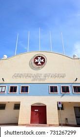 ATTARD, MALTA - APRIL 1, 2017 - Front view of the Centenary Stadium, Attard, Malta, Europe, Apriol 1, 2017.