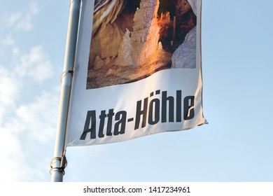 attendorn, North Rhine-Westphalia/germany - 18 04 19: atta cave sign in attendorn germany