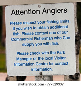 An Attention Anglers Please Respect Your Limits sign