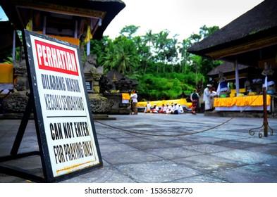 Attention Board at Pura Tirta Empul, Manukaya, Tampaksiring, Gianyar Bali