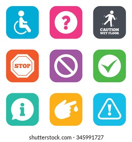 Attention caution icons. Question mark and information signs. Injury and disabled person symbols. Flat square buttons.