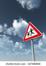 attention childrens roadsign under cloudy blue sky - 3d illustration