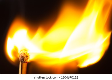 Attention, dangerously ignite a match in the woods, lawn large fire flame black background