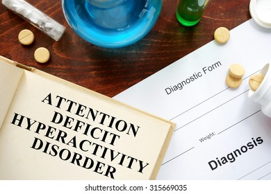 attention deficit hyperactivity disorder  written on book with tablets. Medicine concept.