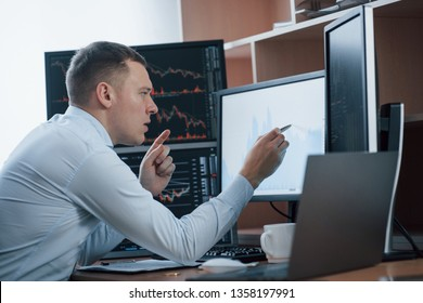 Attention to details. Man working online in the office with multiple computer screens in index charts.
