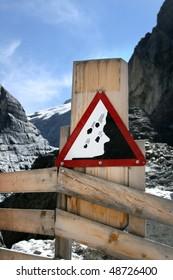Attention! Landslide! Information sign, Grindelwald Glacier, Switzerland Alps