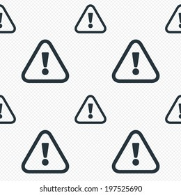 Attention sign icon. Exclamation mark. Hazard warning symbol. Seamless grid lines texture. Cells repeating pattern. White texture background.