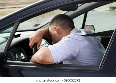 attention tired man driving car