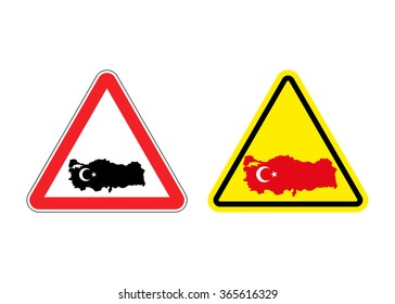 Attention Turkey. Warning sign for Turkish country. Red and yellow road signs with map of Turkey. Logo for goods from Turkey.