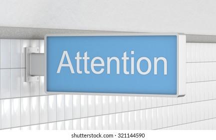 Attention Underground Sign. 3d rendering.