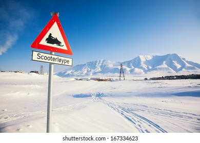 Attention,snowmobiles crossing! Arctic North Pole, Svalbard.