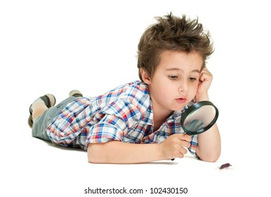 Attentive little boy with weird hair researching the bug using magnifier isolated on white