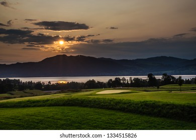 Attersee And Golf Club During Sunset - Salzkammergut, Salzburg, Austria