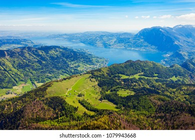 Attersee lake aerial panoramic view from Schafberg viewpoint, Upper Austria. Attersee lake located in the Salzkammergut region of Austria.