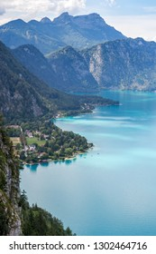 Attersee lake in Austria, seen from above, with a clear coastline, during a Summer holiday trip. European holiday destination near Salzburg.