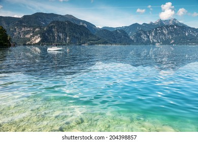Attersee lake in the mountains of Austria