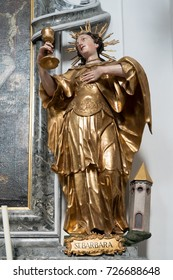 ATTERSEE, SALZKAMMERGUT/AUSTRIA - SEPTEMBER 18 : Statue of St Barbara in the Catholic Church in Attersee in Austria on September 18, 2017
