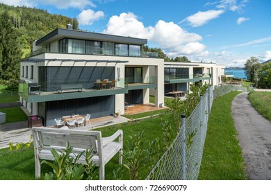ATTERSEE, SALZKAMMERGUT/AUSTRIA - SEPTEMBER 18 : View of New Apartments by the Lake in Attersee in Austria on September 18, 2017