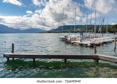ATTERSEE, SALZKAMMERGUT/AUSTRIA - SEPTEMBER 18 : Yachts Moored on the Lake at Attersee in Austria on September 18, 2017