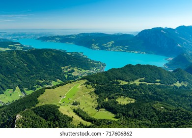 Attersee as seen from Schafberg on a sunny day with blue sky