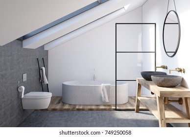 Attic bathroom interior with a wooden shelf, two sinks standing on it, a round mirror, a tub and a toilet. 3d rendering mock up