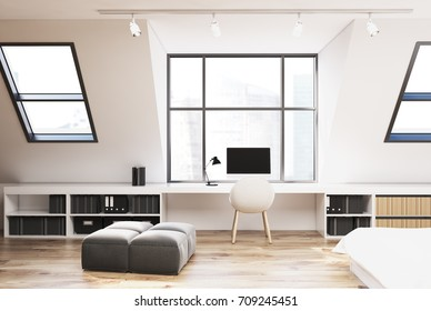 Attic bedroom interior with a wooden floor, a double bed in the corner, a computer table and two sets of bookshelves. 3d rendering mock up