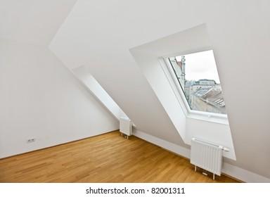attic flat with wooden floor