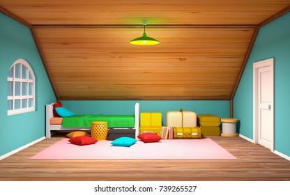 Attic interior with bed and staff, cartoon 3d illustration.