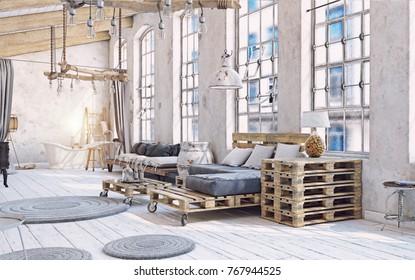 attic living room interior. Pallet furniture .3d illustration