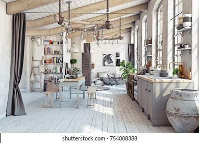 Attic loft apartment with kitchen interior. 3d rendering concept