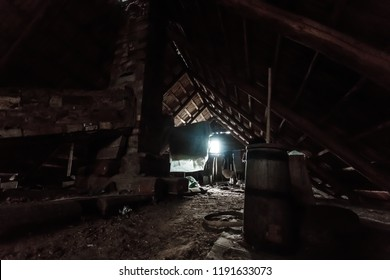 Attic of an old house, mysticism. Creative background, photo in low key, fantasy