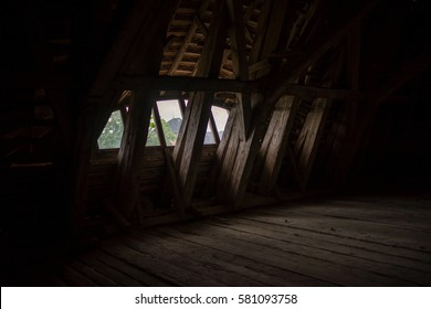 attic in an old large wooden house