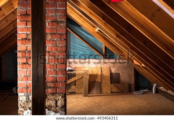 Attic Renovation Thermal Insulation Stock Photo Edit Now 493406311