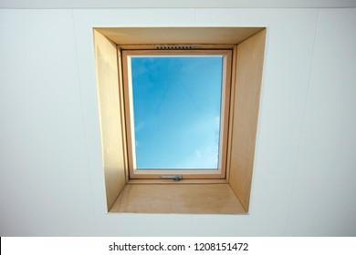 Attic Skylight on a residential home, interior shot modern design
