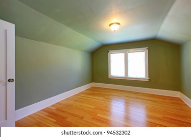 Attic small green room with double window.
