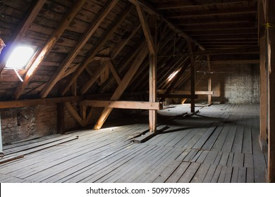 attic,  wooden beams in old loft /  roof before construction