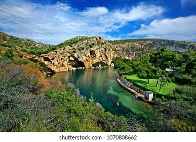 ATTICA, GREECE - April 24, 2014. Panoramic view of Vouliagmeni lake, ideal place for relaxation and wellness treatment in Attica.