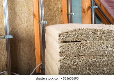 Attick loft insulation pacage of rock wool