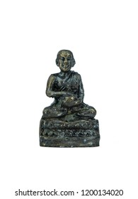 The attitude of meditation black metal Buddha amulet mean the against immoral and meditation spirit. Buddhist usually carry during activities for mind trust. Faith concept pray in religion to Buddha.